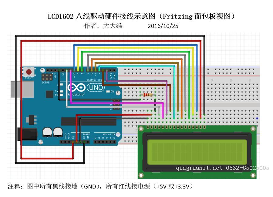 arduino下lcd1602综合探究(上)——1602的两种驱动